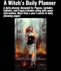 A daily planner designed for Pagans. Includes Sabbats, and Pagan calendar along with moon information. More than a year's worth of daily planning pages